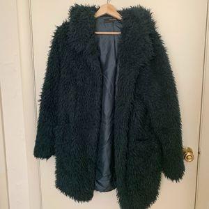 Zara Teal Faux Fur Hooded Jacket